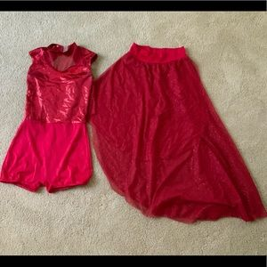 Red Sparkly and Regal Dance Costume